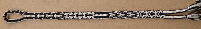 "finger loop braiding, 14-loop ""letterbraid"" structure"