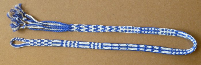 Finger loop braiding:  2-person braid made by a solo braider.