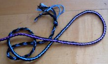 3-loop braid, bicolor loops--variegated rayon yarn + cotton embroidery thread (doubled)