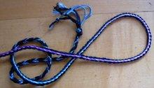 3-loop fingerloop braid of bicolor loops. Variegated rayon, and cotton embroidery floss (doubled). loopbraider.com