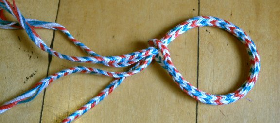 Sudarium-type braid, finger loop braiding, 16 loops, embroidery floss