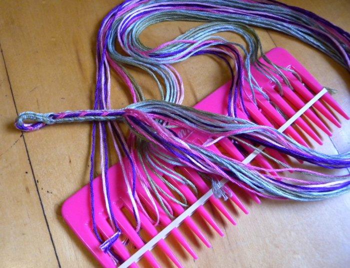 finger loop braiding, setting down the loops