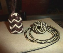 Dominic's pineapple knot and fingerloop braid in waxed cotton