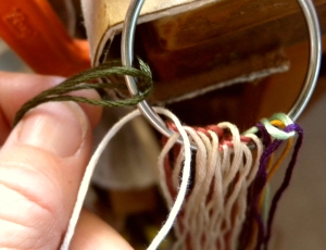 Mounting loops onto a ring for fingerloop braiding