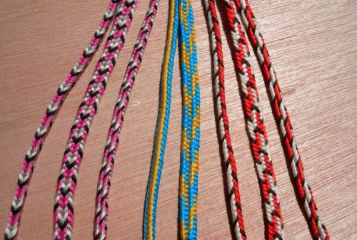 5-loop braids: square, flat, 3/4 flat. Embroidery floss