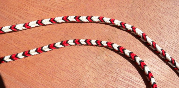 finger loop braiding, 7 and 9 loops, color pattlern planning