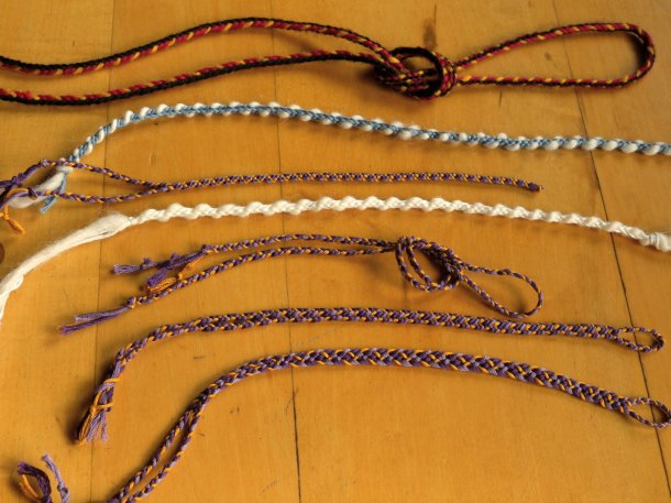 photo of 7 different 3-loop braids