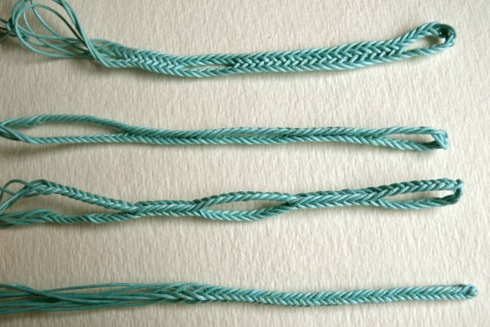 5-loop fingerloop braids, waxed cotton cord