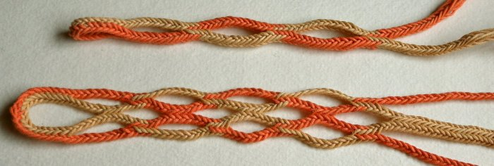 10-loop fingerloop braids, openwork