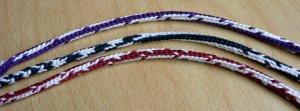 Doug's Braids, bicolor loops. 7-loop round spanish-type fingerloop braids. loopbraider.com