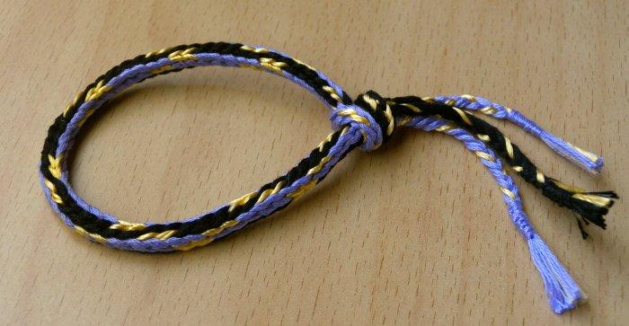 finger loop braiding, 7 loop round 'spanish' braid, embroidery floss and rayon thread
