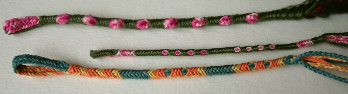 Finger loop braiding --  2-person braids made solo. Double-tube, couvert braid.
