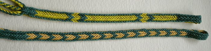 2 10-loop double braids, solid rectangle shape, bicolor patterns