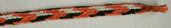 fingerloop braiding, 2-worker finger loop braid, waxed cotton, made by Ingrid Crickmore, solo braider.