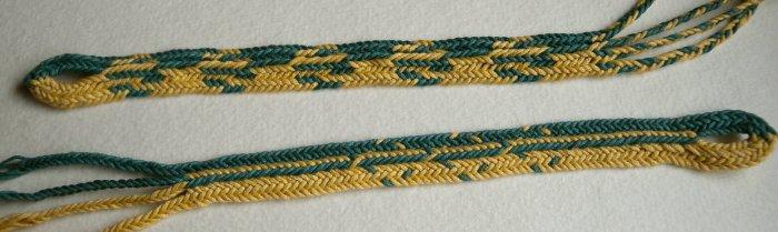 fingerloop braiding, 10 loops, one braider, peaked shape, loopbraider, loop braider, Ingrid Crickmore