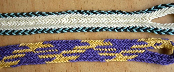 fingerloop braiding, two-person flat braid, braided by loopbraider, Ingrid Crickmore, solo braider technique