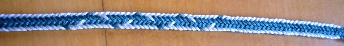 photo of a 10-loop double braid, bicolor 'One-loop-wrong' EDGE pattern