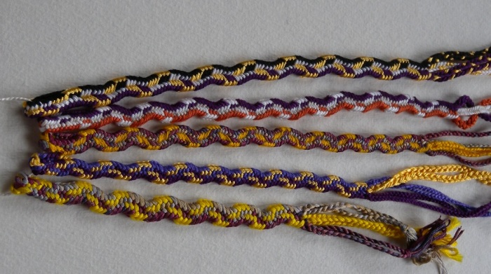 Various curvy double braids, all solid rectangle, 9 - 13 loops, zig zag braid, rick rack braid