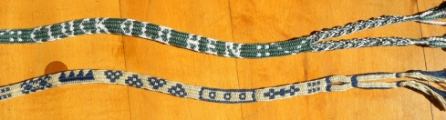 17th Century alphabet braid, letter braid, original variation by Ingrid Crickmore (18 loops rather than traditional braid's 14 loops) , finger loop braiding, loop manipulation