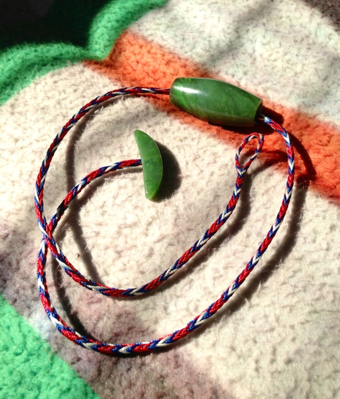photo of Chris Kurtonic's braided c-lon and gemstone necklace