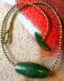 Chris Kurtonic, 5-loop square braid necklace with gemstone beads.