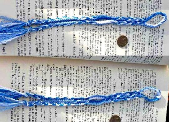 Dan Gaiser, bookmark. 8-loop flat double braid with color-linking