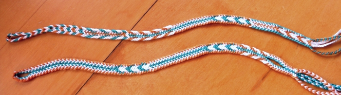2 loop braid pattern samplers of color linking. Loop manipulation/ fingerloop braiding. 7-loop flat braids