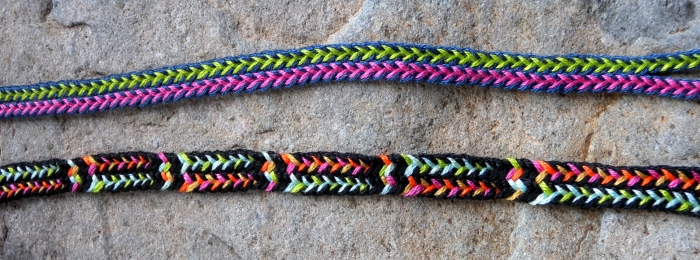 Two loop braids of 7 loops with variations of the same color-linking pattern