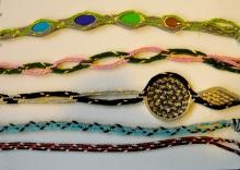 12-loop fingerloop braids, hollow variations some with openwork, Ingrid Crickmore
