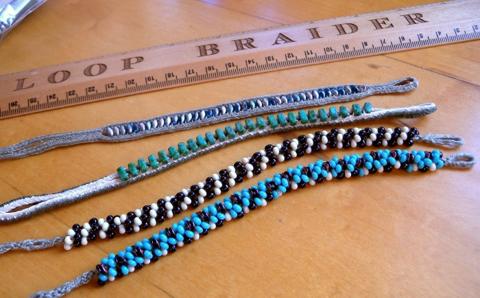 fingerloop braids with beading - czech, japanese seed beeds