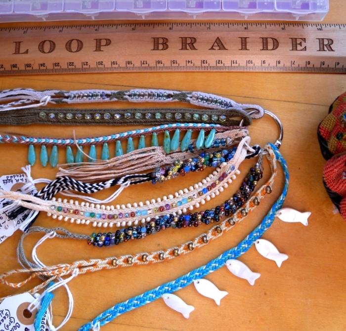 Samples of fingerloop braiding with beads