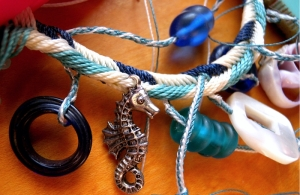 fingerloop braided charm bracelet, ocean theme - Ingrid Crickmore