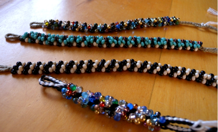 beading on spiral fingerloop braids