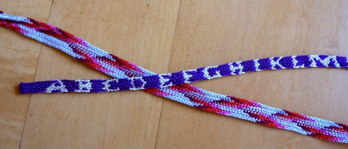 loop braided letterbraid of ten loops, by loopbraider, learned from Joy Boutrup's monograph