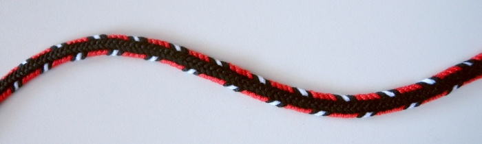"A 7-loop D-shaped braid--a different type of braid from the more well-known ""broad lace."" (different loops are skipped over by the braider). by Ingrid Crickmore"