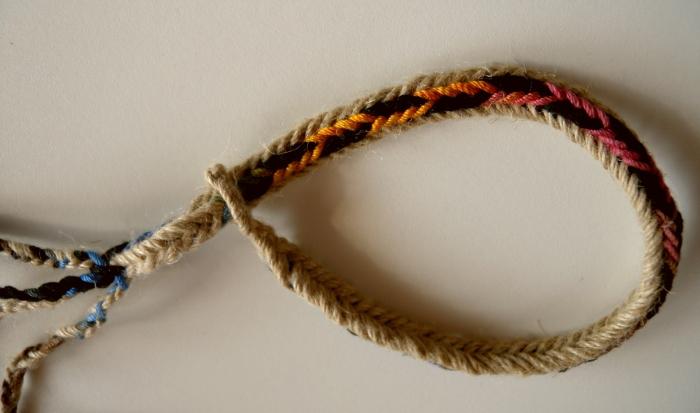 Unorthodox fingerloop braid of 7 loops, linen and cotton