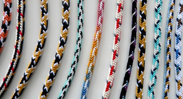Unorthodox 7-loop fingerloop braids, by Ingrid Crickmore