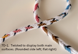 7-loop unorthodox D-shaped loop braid, color pattern D7-1