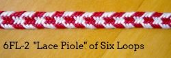 6-loop flat braid, Lace Piole variation (6FL-2)