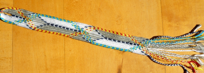 (ループ指操作組紐技法)Fingerloop braided attempt at reproducing the 12th C. Itsukushima braid.