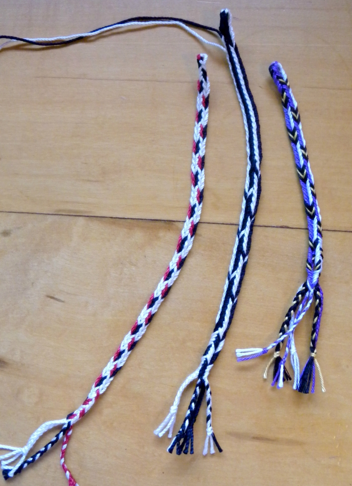 5-, 7-, 9-loop Triangle Braids, fingerloop braiding, by Ingrid Crickmore