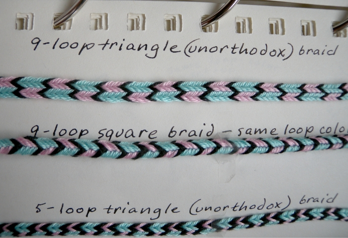 fingerloop braided Triangle braid compared to Square braid