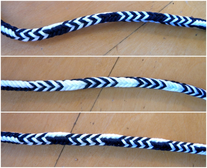Combination pattern of Alternating Stripes & All-Dark-up by loopbraider.com