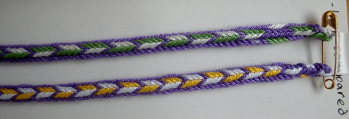 9 and 8-loop Triangle braids, fingerloop braiding