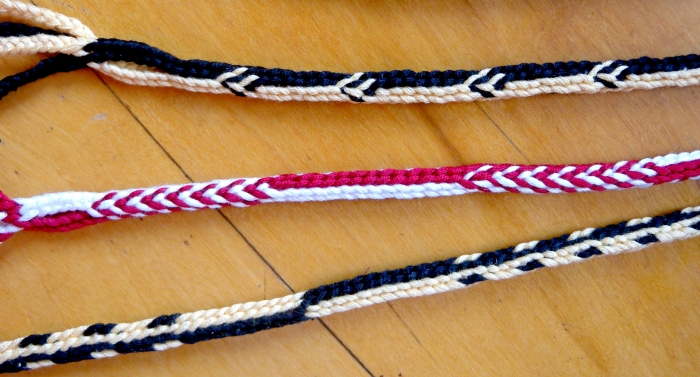 Doug's Braid - a 7-loop round 'spanish'-type loop braid, here shown with 3 different pick-up patterns