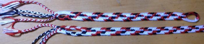 Two multi-color 50/50 zig-zag flat braids of 7 loops, same warp, different patterns. Ingrid Crickmore, loopbraider.com