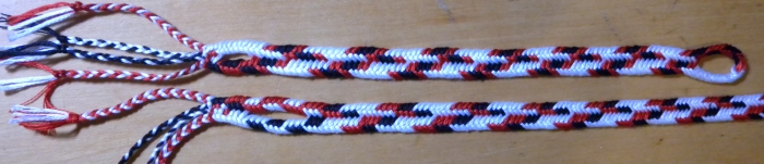 Two multi-color 50/50 zig-zag flat braids of 7 loops, same warp, different patterns. Ingrid Crickmore, loopbraider.com