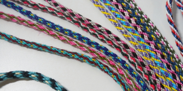 KumiKreator bracelet braids in embroidery floss, crochet cotton, and wool