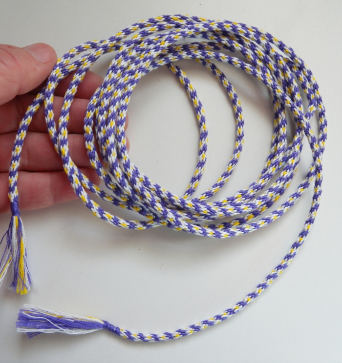 9-foot long KumiKreator braid for bracelets or other uses, in embroidery floss - braided in two sections starting from center of warp. ingridcc / loopbraider.com