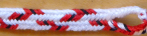 7-loop flat braid, narrow zig-zag pattern, fingerloop braid, loopbraider.com